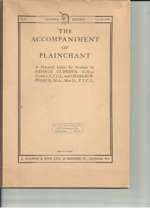 Picture of The Accompaniment of Plainchant, George Oldroyd & Charles W. Pearce, piano solo instruction/songbook