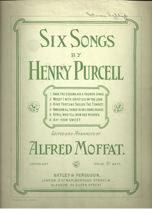 Picture of Six Songs, Henry Purcell, songbook