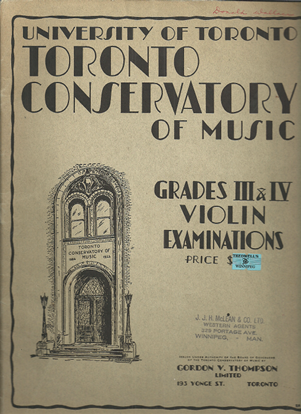 Picture of Violin Grade 3 & 4 Exam Book, 1936 Edition, Royal Conservatory of Music, University of Toronto