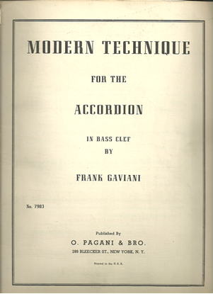 Picture of Modern Technique for the Accordion in Bass Clef, Frank Gaviani, instruction songbook