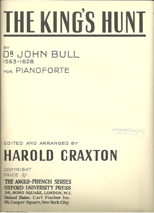 Picture of The King's Hunt, Dr. John Bull, piano solo