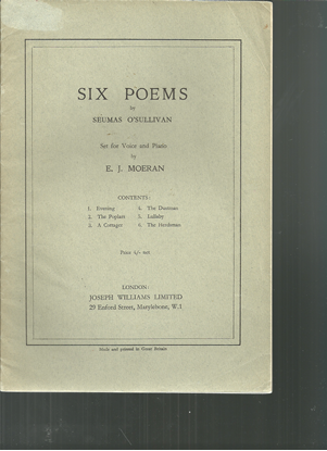 Picture of Six Poems by Seumas O'Sullivan, E. J. Moeran, songbook