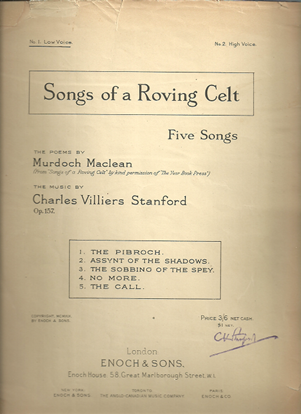 Picture of Songs of a Roving Celt, Charles Villiers Stanford, low voice songbook