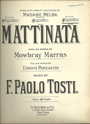 Picture of Mattinata, F. Paolo Tosti, high voice solo