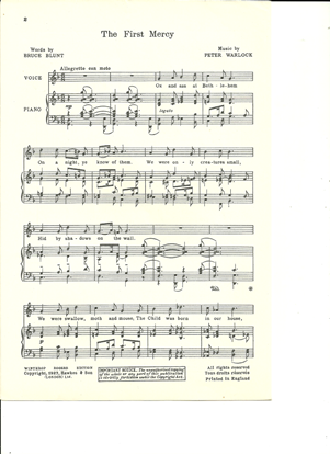 Picture of The First Mercy, Peter Warlock, unison octavo