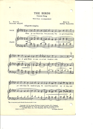 Picture of The Birds, Peter Warlock, high voice