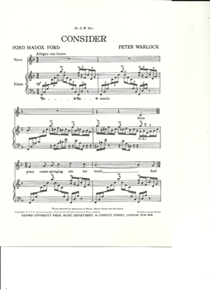 Picture of Consider, Peter Warlock, unison octavo vocal solo