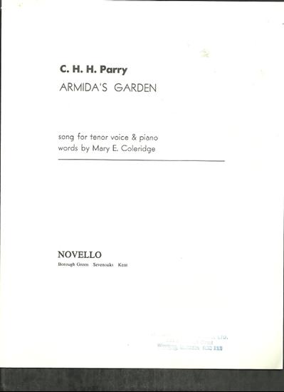 Picture of Armida's Garden, C. H. H. Parry, tenor vocal solo