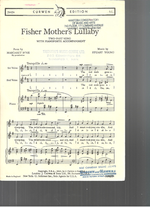 Picture of Fisher Mother's Lullaby, Stuart Young, two-part song