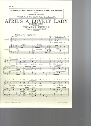 Picture of April's a Lovely Lady, Thomas Dunhill, unison vocal solo