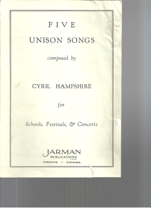 Picture of Five Unison Songs, Cyril Hampshire