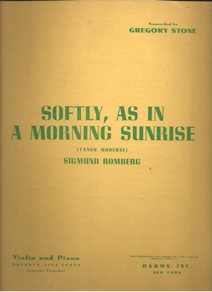 Picture of Softly as in a Morning Sunrise (Tango), Sigmund Romberg, transcr. Gregory Stone, violin solo