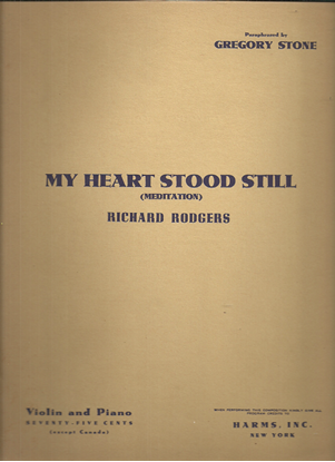 Picture of My Heart Stood Still, Richard Rodgers, transcr. Gregory Stone, violin & piano solo