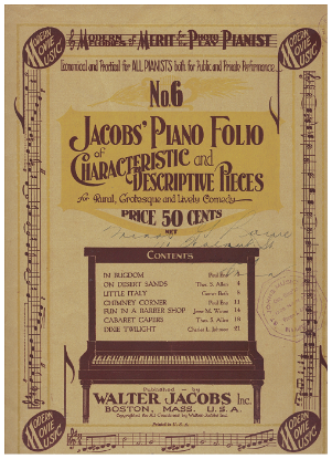 Picture of Modern Melodies of Merit for the Photo Play Pianist, Jacobs Piano Folio of Characteristic & Descriptive Pieces No. 6, piano solo songbook