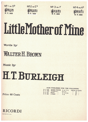 Picture of Little Mother of Mine, H. T. Burleigh, vocal solo