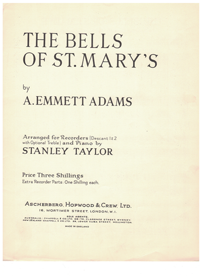 Picture of The Bells of St. Mary's, A. Emmett Adams, arr. Stanley Taylor for recorder/flute duet with piano accomp