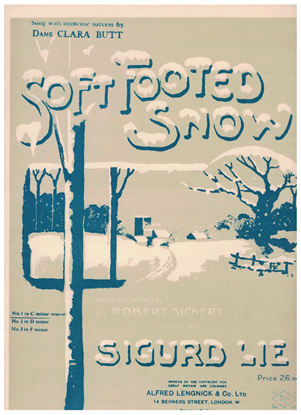 Picture of Soft Footed Snow, Sigurd Lie, popularized by Dame Clara Butt, low voice solo