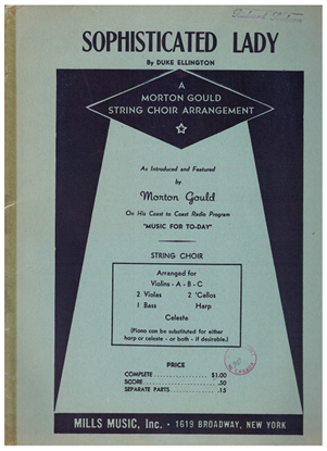 Picture of Sophisticated Lady, Duke Ellington, arr. for string choir by Morton Gould