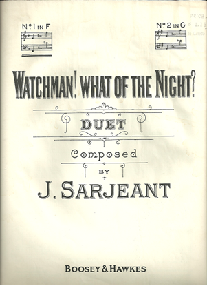 Picture of Watchman What of the Night, J. Sarjeant, vocal duet