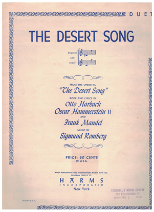 Picture of The Desert Song, operetta title song, Sigmund Romberg, vocal duet for soprano & tenor
