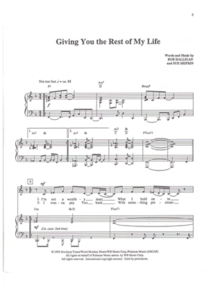 Picture of Giving You the Rest of My Life, Bob Halligan & Sue Shifrin, recorded by Bob Carlisle, medium voice solo