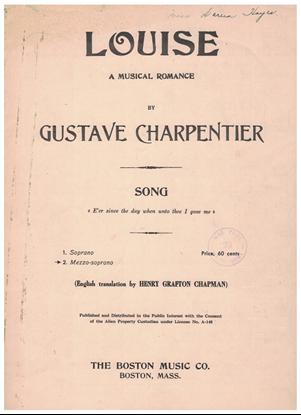 "Picture of Depuis le jour, from opera ""Louise"", Gustave Charpentier, mezzo-soprano solo"