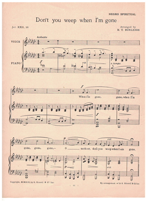 Picture of Don't You Weep When I'm Gone, Negro Spiritual, arr. H. T. Burleigh