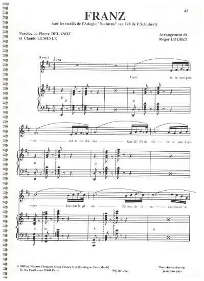 """Picture of Franz, from the """"Adagio Notturno Op. 148"""" by Franz Schubert, Pierre Delanoe/ Claude Lemesle/ Roger Loubet, recorded by Nana Mouskouri"""