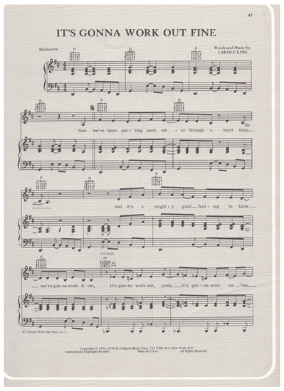 Picture of It's Gonna Work Out Fine, written & recorded by Carole King