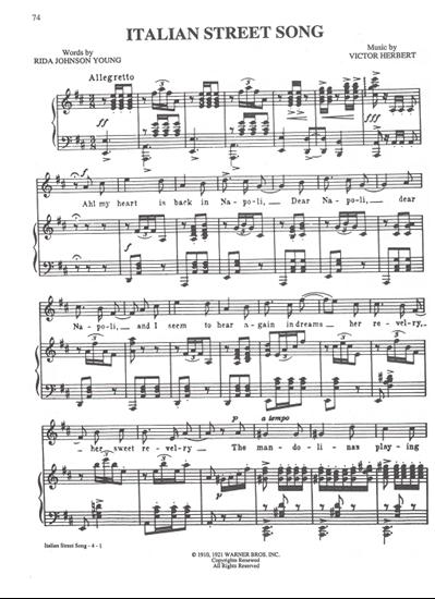 "Picture of Italian Street Song, from ""Naughty Marietta"", Victor Herbert"