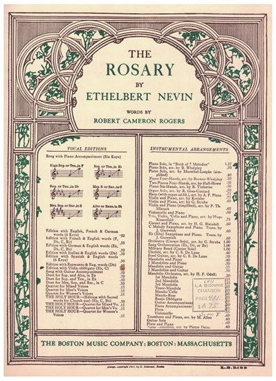 Picture of The Rosary, Ethelbert Nevin, high voice solo with violin obbligato