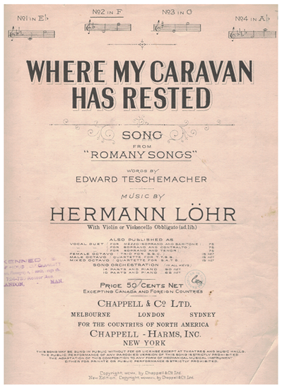 """Picture of Where My Caravan Has Rested, from """"Romany Songs"""", Edward Teschemacher & Hermann Lohr, medium low vocal solo with violin/cello obbligato"""