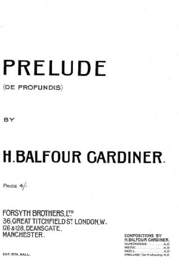 Picture of Prelude(De Profundis), H. Balfour Gardiner, piano solo, pdf
