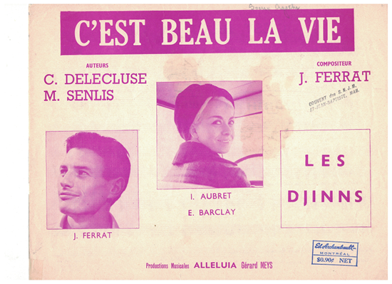 Picture of C'est beau la vie, Michelle Senlis/ Claude Delecluse/ Jean Ferrat, recorded by Les Djinns