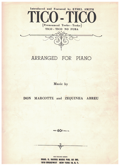 Picture of Tico-Tico, Zequinha Abreu, arranged & recorded by Ethel Smith, piano solo