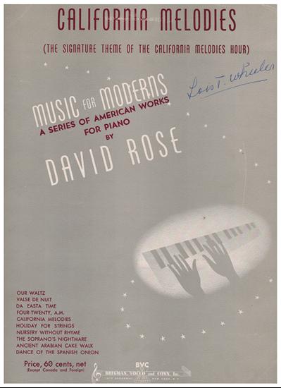"Picture of California Melodies, radio theme from ""The California Melodies Hour"" , David Rose, piano solo"