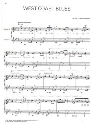 Picture of West Coast Blues, written & performed by Wes Montgomery, jazz guitar solo w/2nd guitar accomp