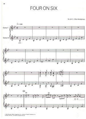 Picture of Four on Six, written & recorded by Wes Montgomery, jazz guitar solo w/2nd guitar accomp