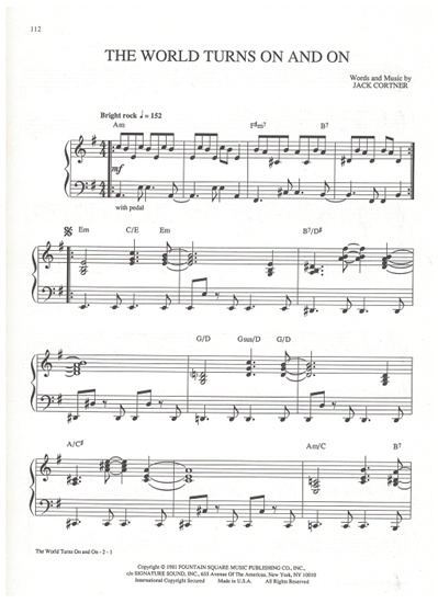 """Picture of The World Turns On and On, theme from """"As the World Turns"""", Jack Cortner, piano solo"""