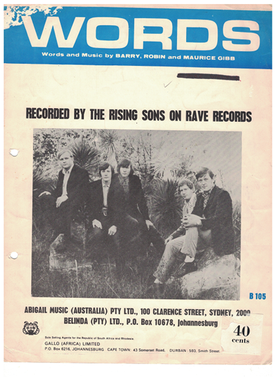 Picture of Words, Barry/Robin & Maurice Gibb, recorded by The Rising Sons