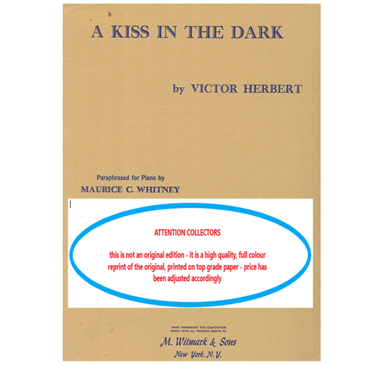 Picture of A Kiss in the Dark, paraphrased for piano solo by Maurice. C. Whitney