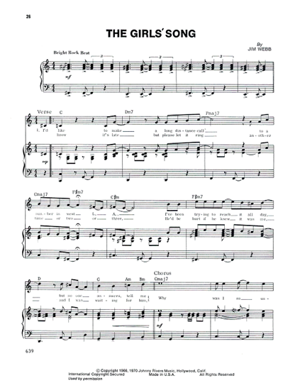 Picture of The Girls' Song, Jim Webb, recorded by The 5th Dimension......scanned copy