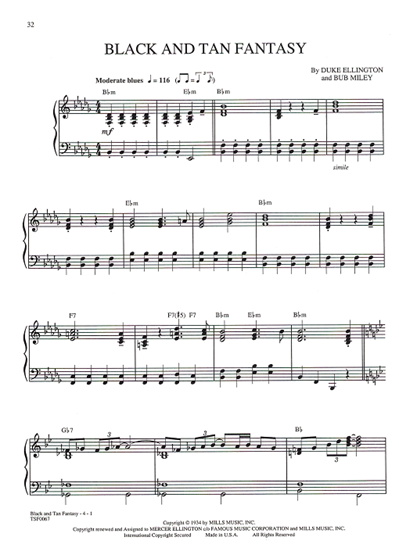 """Picture of Black and Tan Fantasy, from Broadway revue """"Black & Blue"""", Duke Ellington & Bub Miley, piano solo"""