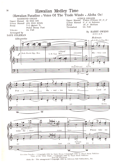 """Picture of Hawaiian Paradise, from """"Hawaiian Medley Time"""", Harry Owens, arr. Dave Coleman for organ/vocal solo"""