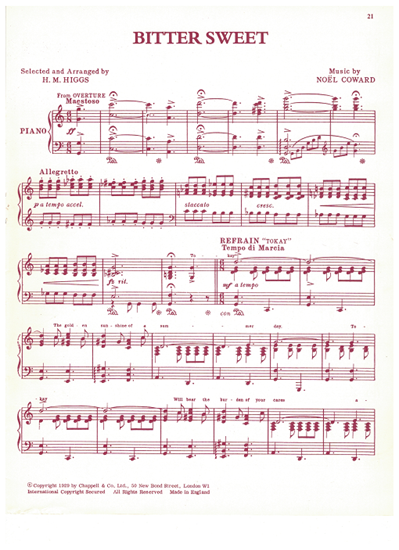 Picture of Bitter Sweet, Noel Coward, arr. H. M. Higgs, piano solo selections