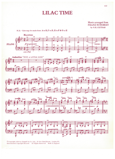 Picture of Lilac Time, Franz Schubert/ G. H. Clutsam, piano solo selections