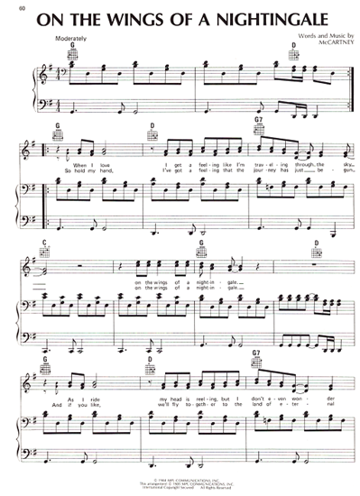 Picture of On the Wings of a Nightingale, Paul McCartney, as sung by The Everly Brothers, vocal duet sheet music