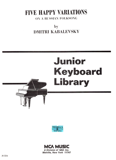 Picture of Five Happy Variations on a Russian Folksong Opus 51 No. 1, Dmitri Kabalevsky, edited by Guy Maier, piano solo