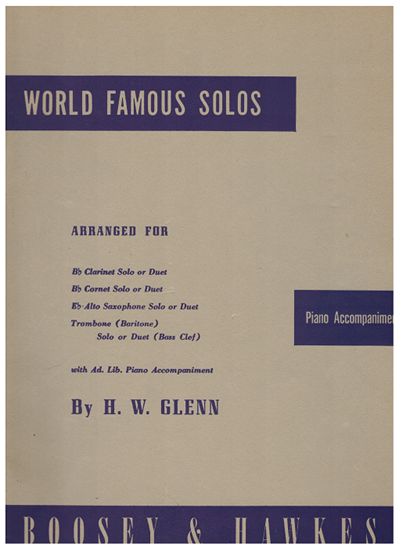 Picture of World Famous Solos, Trumpet & Piano, arr. H. W. Glenn, songbook