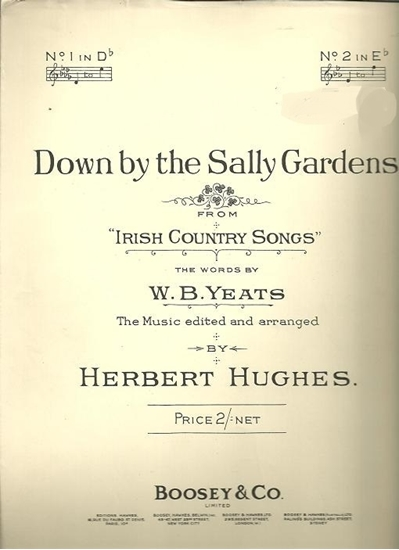 """Picture of Down By the Sally Gardens, from """"Irish Country Songs"""", Herbert Hughes, low voice solo"""